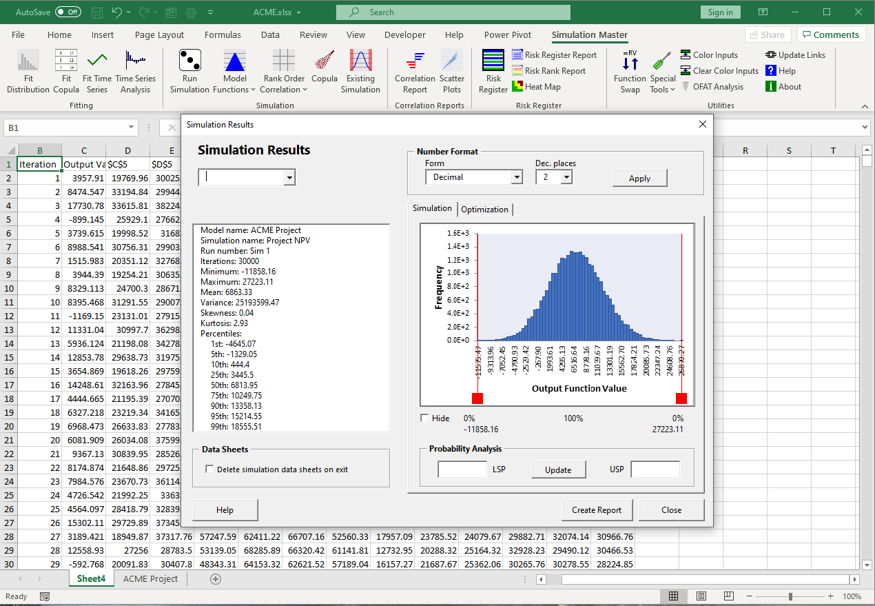 Simulation results in a workbook