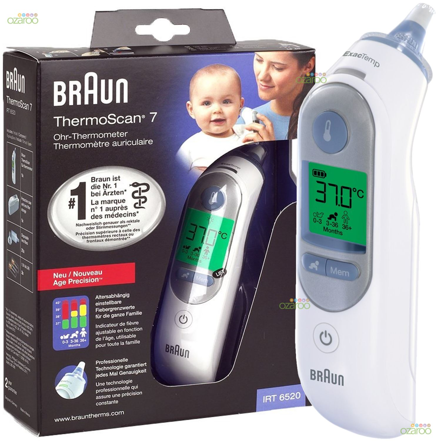 Braun ThermoScan 7 IRT6520 Baby/Adult Professional Digital Ear Thermometer