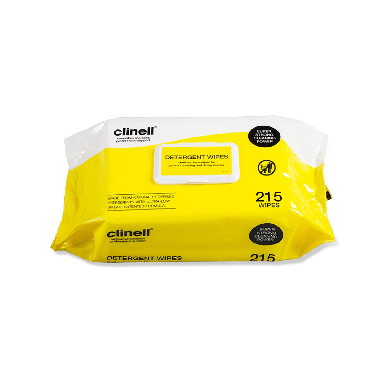 Clinell CDW215 Detergent Wipes - Alcohol and Disinfectant Free - Pack of 215 Wipes