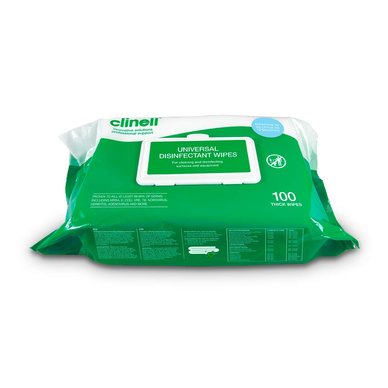 Clinell - Antibacterial Hand Wipes, 100 each pack of 6