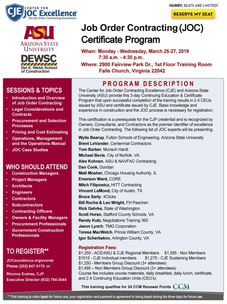 JOC Certification & JOC Training | Job Order Contract Official Site