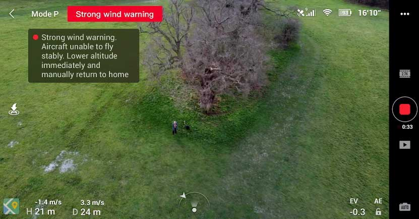 Strong Wind Warning appearing on Mavic Mini flying app DJI Fly.