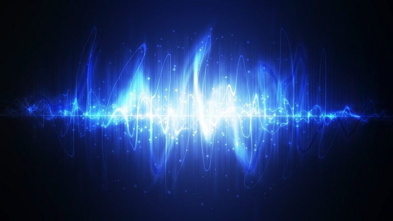Sound wave in blues and whites