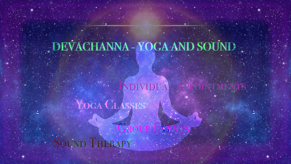 Visually summarizes offerings at Devachanna Yoga And Sound.