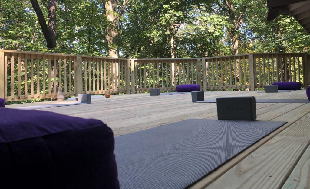 The deck where we practice yoga.