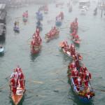 Santa Rowing in Venice