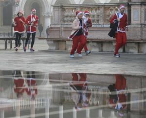 Santa in Acqua Alta San Marco Square