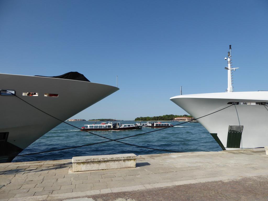 Vaporetto between the Mega Yachts