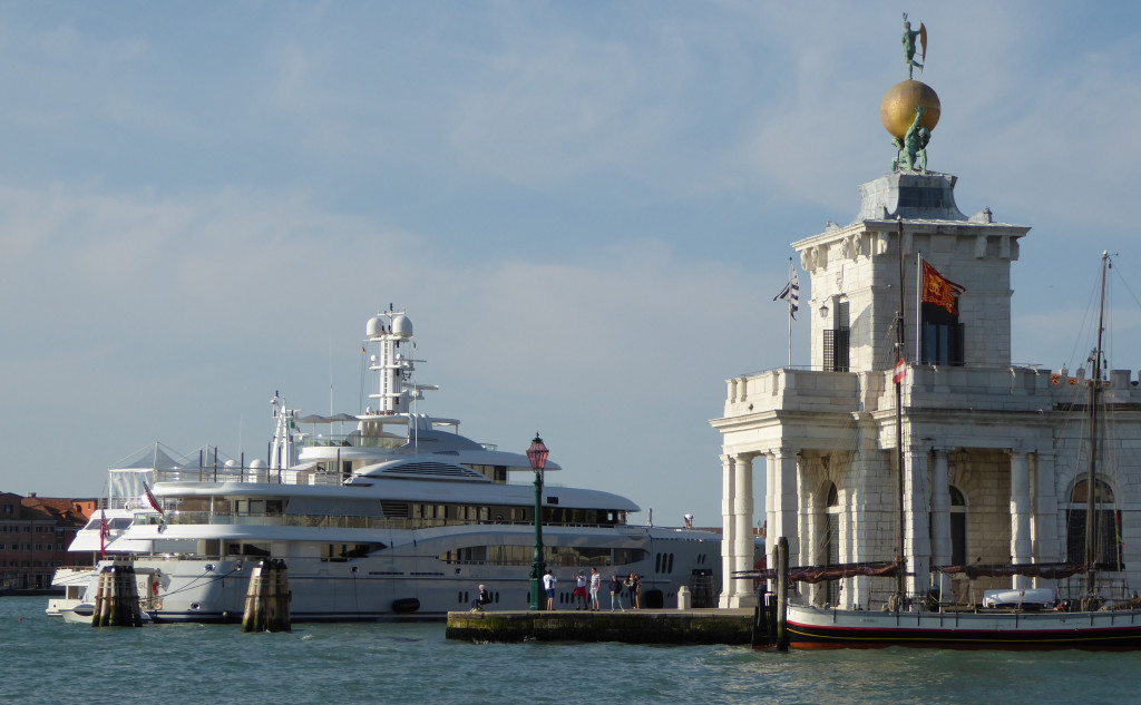 Mega Yacht at the Ponte della Dogana