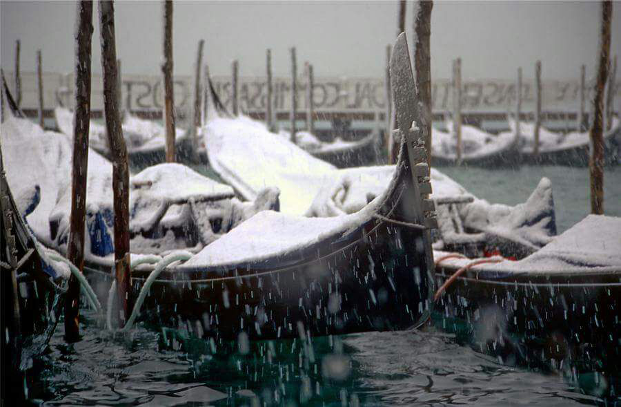 Gondola in Snow at San Marco Square January 2017
