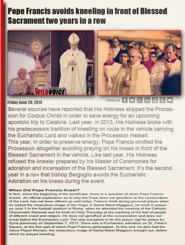pope francis won't kneel