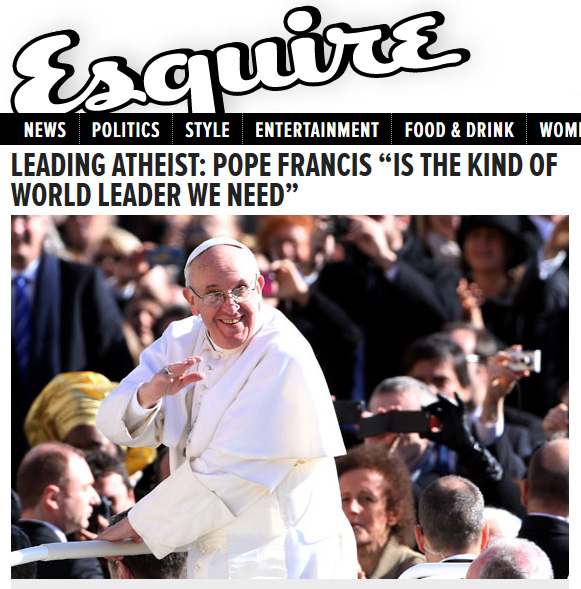 Pope Francis, False Prophet, New World Order, atheists, atheism, Esquirer, The WILD VOICE, apostasy