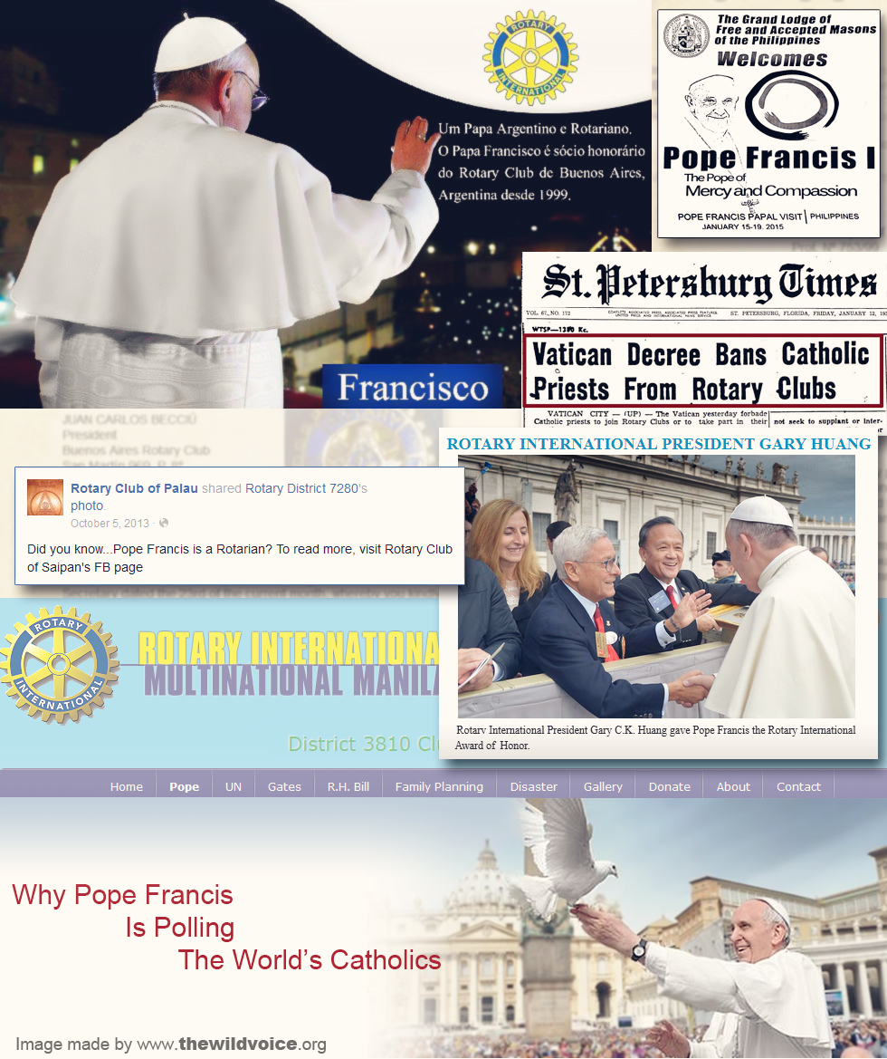 Pope Francis, Rotary Club, False Prophet, Freemasonry, freemason, freemasons, The Wild Voice, Maria Divine Mercy, Rotary, club, rotarian, father, linus