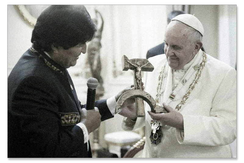 Pope Francis with Communist crucifix