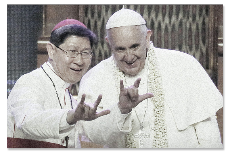 Pope Francis devil sign
