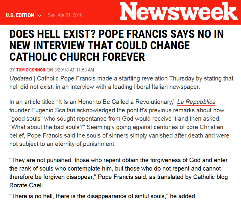 pope francis denies hell
