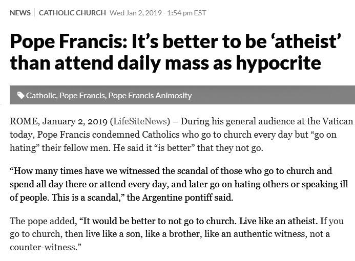 FALSE PROPHET POPE FRANCIS ATHEIST