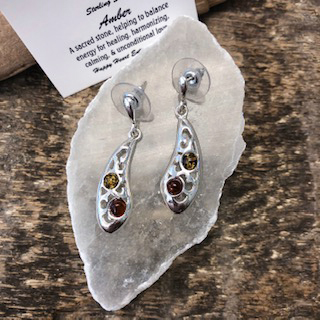 Sterling Silver Earrings – Amber