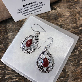 Sterling Silver Earrings – Carnelian