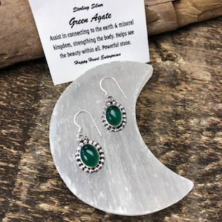 Sterling Silver Earrings – Green Agate