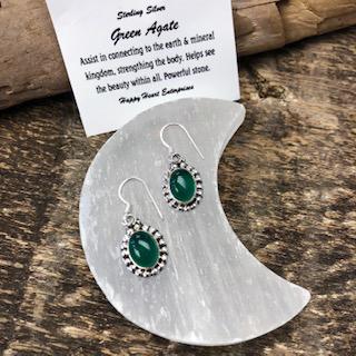 Sterling Silver Earrings – Green Agate