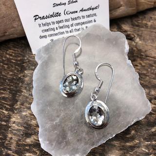 Sterling Silver Earrings – Prasiolite (Green Amethyst)