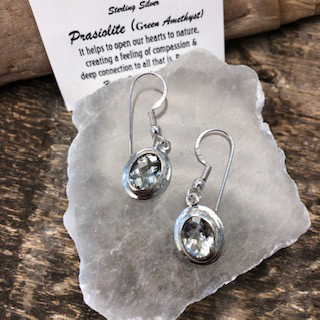 Sterling Silver Earrings – Prasiolite (Green Amethyst)