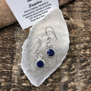 Sterling Silver Earrings – Sapphire
