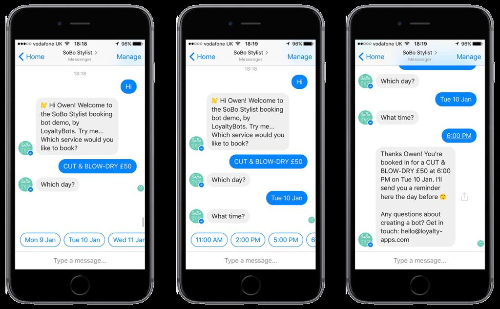 Screenshots of chatbot text messaging