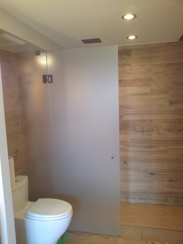 Water closet and shower screen