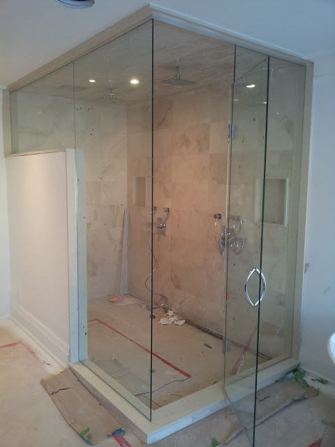 Shower enclosure just after installation