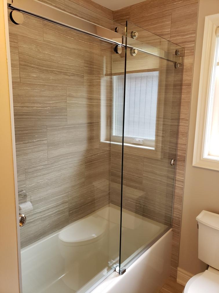 double sliding tub door