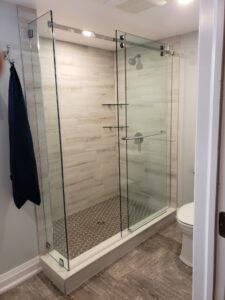 sliding shower enclosure on curb