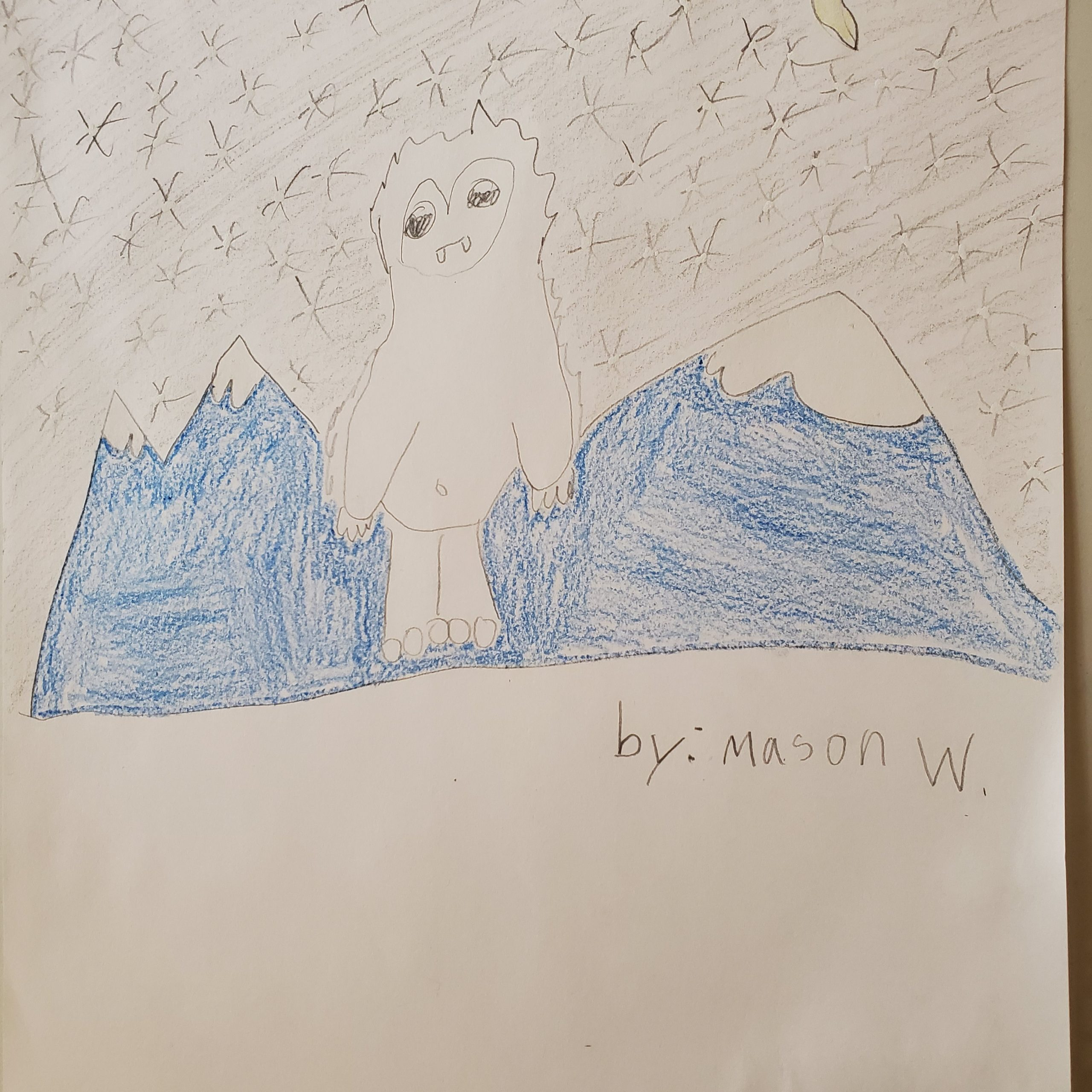 yeti in the dark snowy mountains