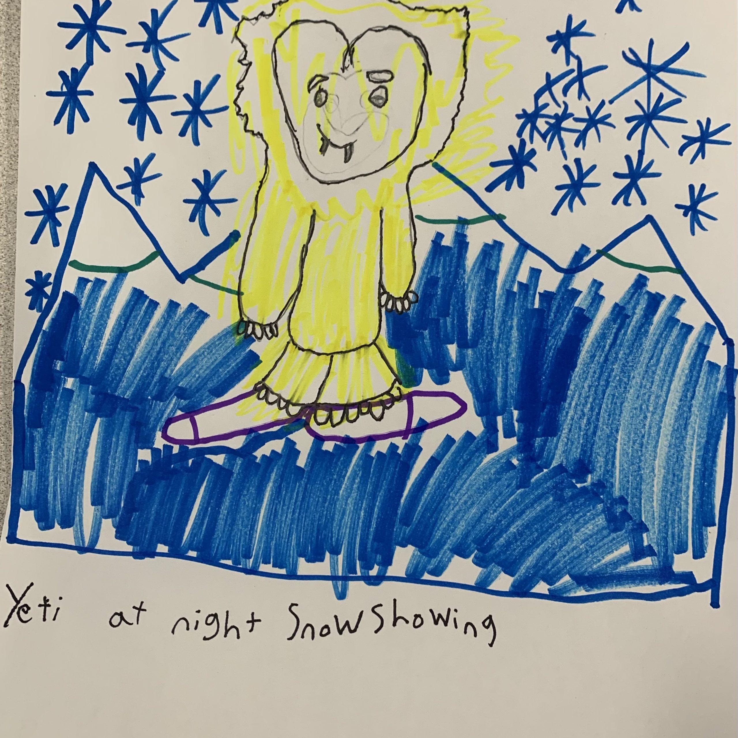 yeti at night snowshowing lillian m