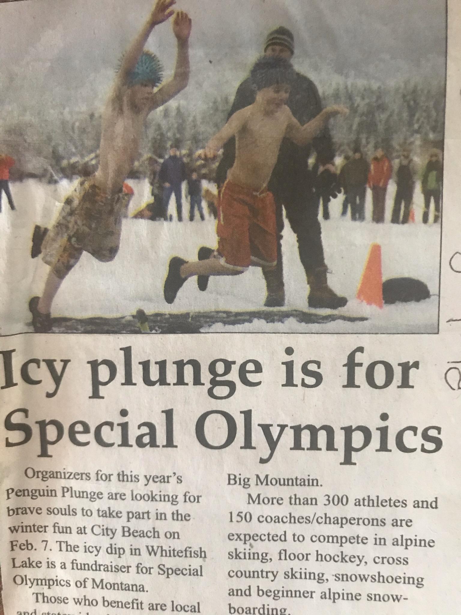 icy plunge for dylan and stellan