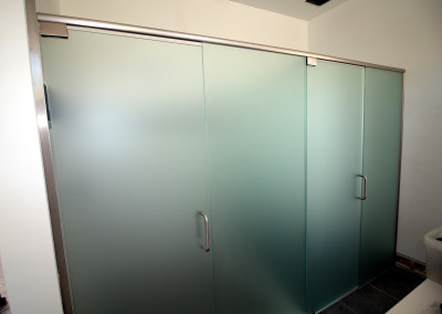 Satin etch glass shower