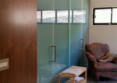 Matt glass shower with barn door