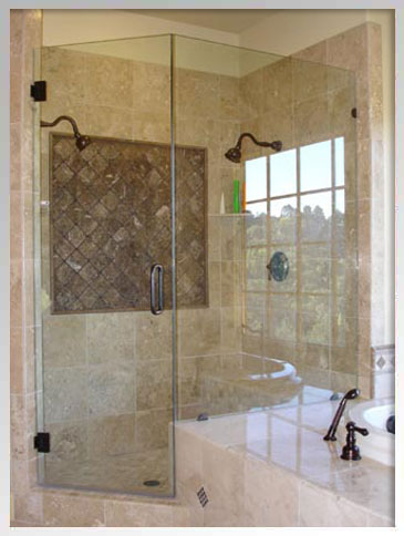 Oil rubbed bronze hardware and framless shower