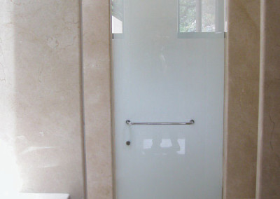 White glass shower