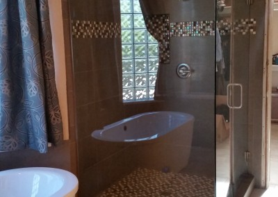 Brushed nickel large frameless shower