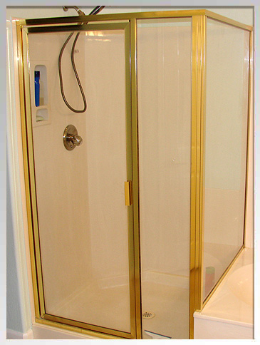 Framed shower door before