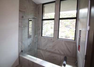 Soaker Tub with Glass Pivot door