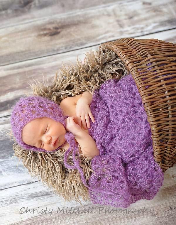 Mohair Bonnet & Wrap Baby Crochet Pattern