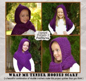 Wrap Me Tender Hooded Scarf  Crochet Pattern