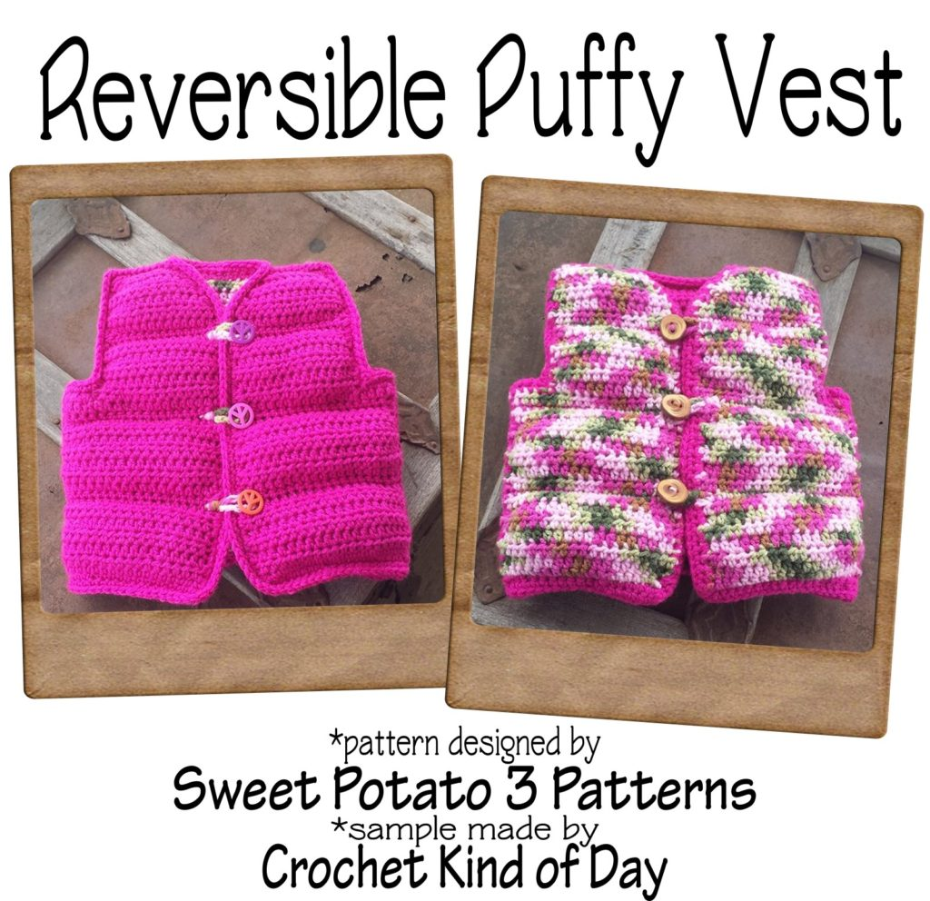 reversible puffy vest crochet pattern