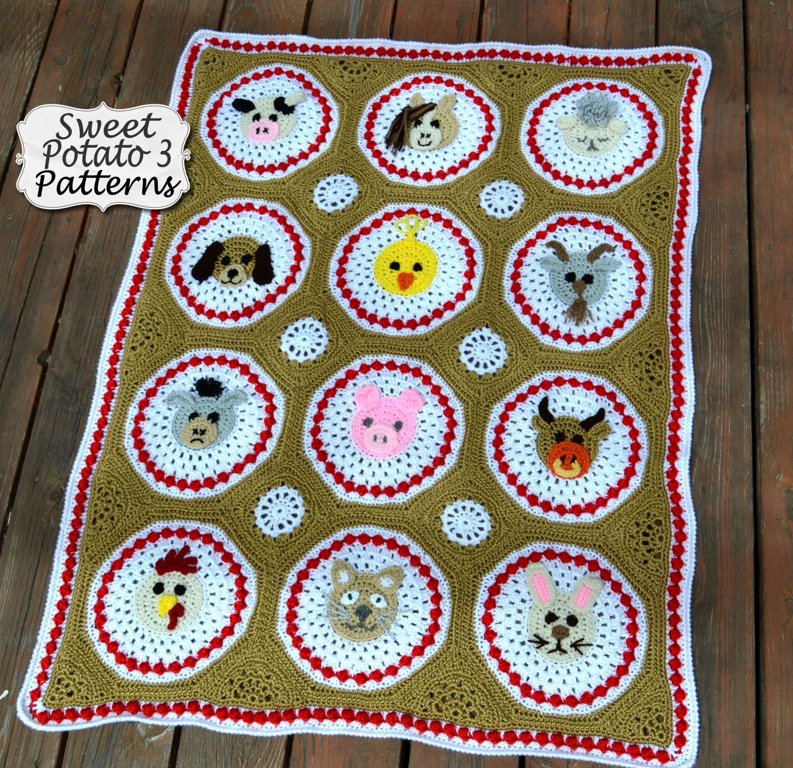 Farm Animal Blanket Crochet Pattern