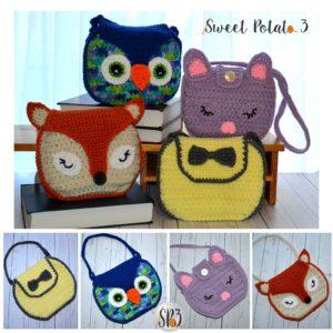 Girls Handbag Pattern – Bow, Fox, Owl and Kitten