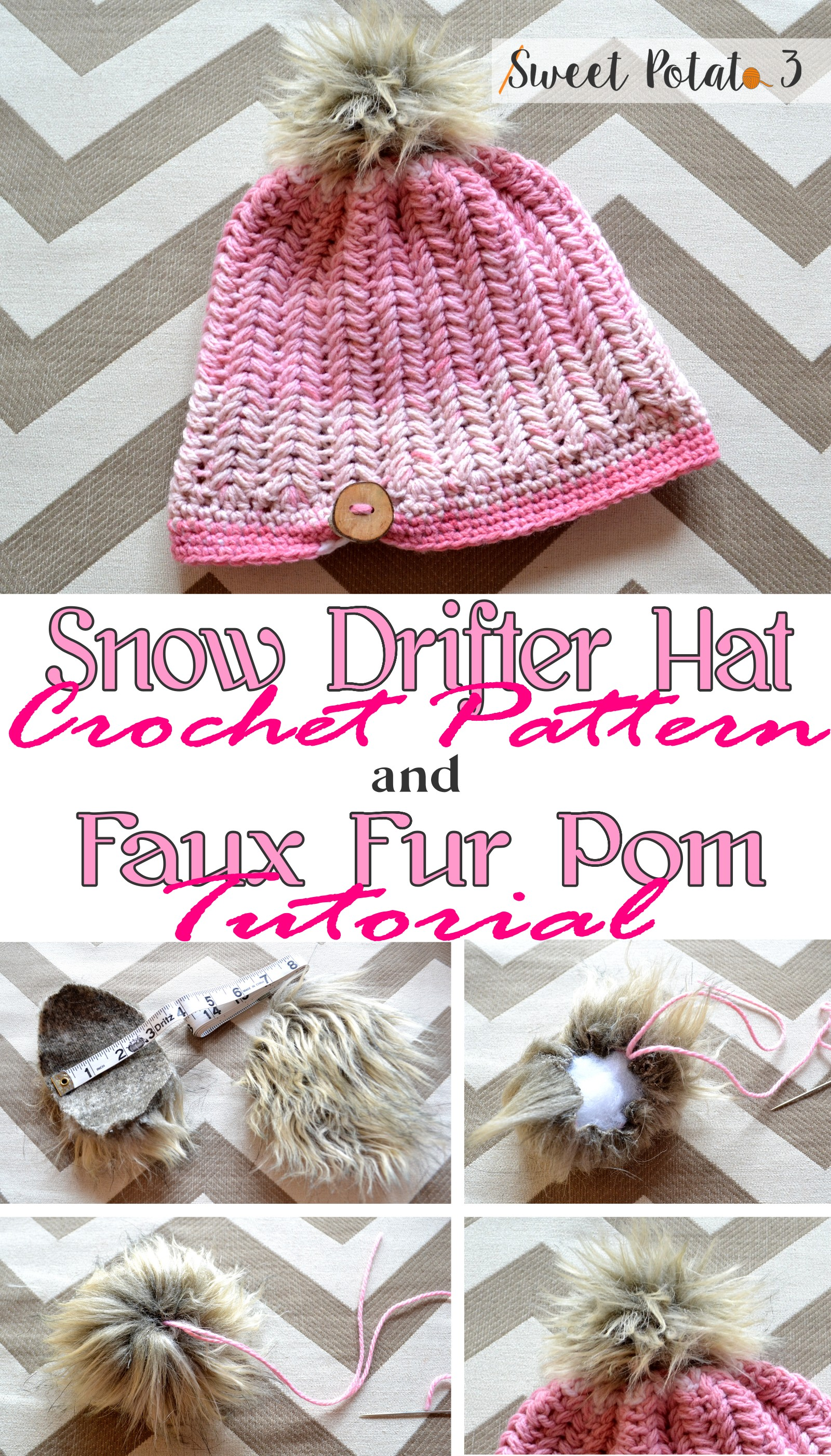 Snow Drifter Hat Pattern & Faux Fur Pom Tutorial