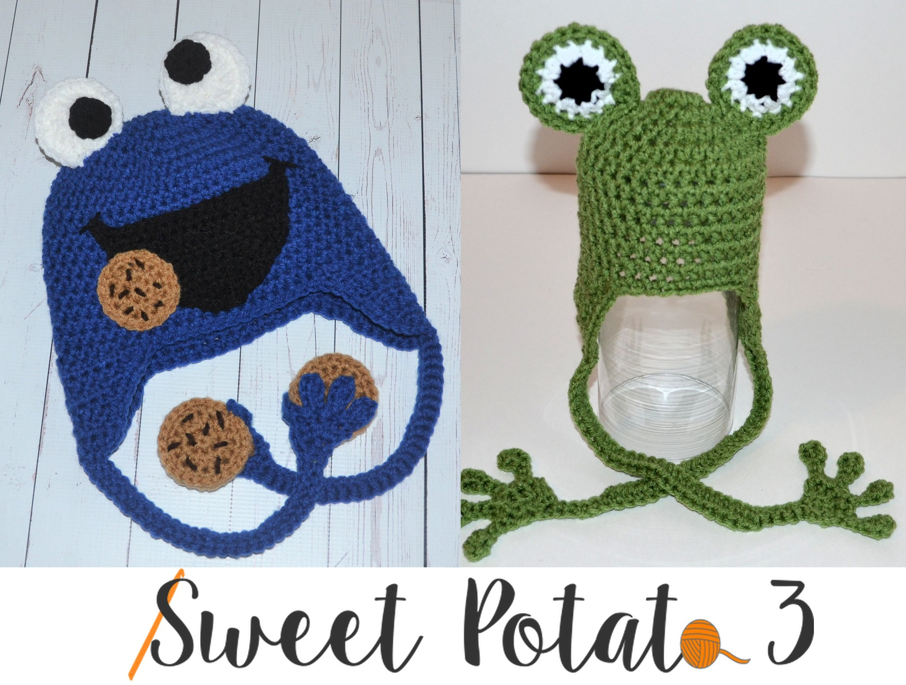 Free Frog Crochet Hat Pattern with Cookie Monster Instructions too!